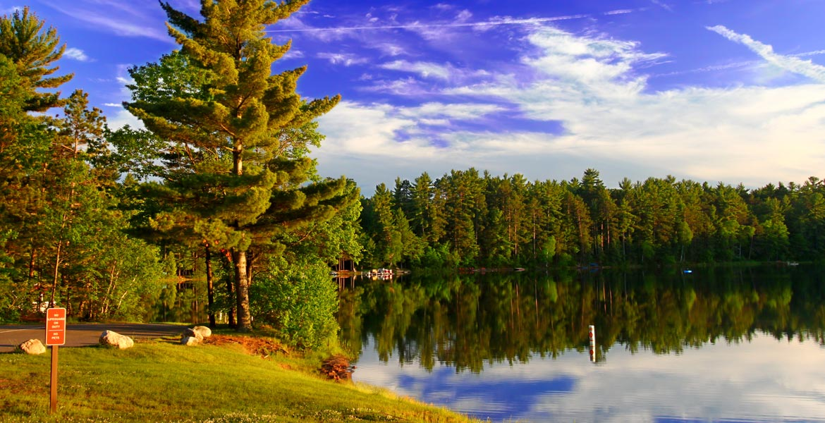 park-with-lake-blue-skies-green-trees
